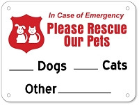 6 Inch x 8 Inch Aluminum Pet Rescue Sign - Please Rescue Our Pets