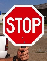 Hand Held Aluminum Stop Sign Available in 3 Sizes and 3 Message Options
