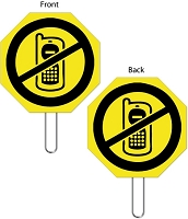 15 Inch Hand Held No Cell Phone Sign with Large No Symbol Graphic Over Cell Phone.
