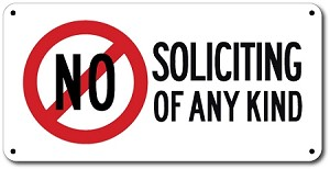 "6"" x 12"" No Soliciting Of Any Kind Aluminum Sign with No Symbol"
