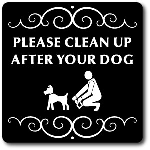 "8"" x 8"" Aluminum Sign with Yard Stake: Please Clean Up After Your Dog"