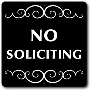 "8"" x 8"" Aluminum Property Sign with 2 ft display stake attached: NO SOLICITING"
