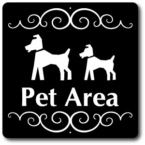"8"" x 8"" Aluminum Sign with Yard Stake: Pet Area Sign"