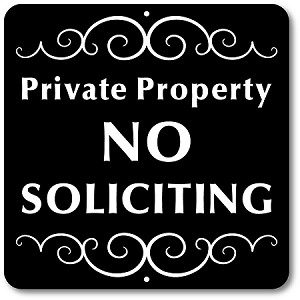 "8"" x 8"" Aluminum Sign with Yard Stake: Private Property No Soliciting"