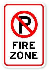 "18"" x 12"" Fire Zone with No Parking Symbol"