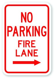 "18"" x 12"" No Parking Fire Lane with Right Arrow"