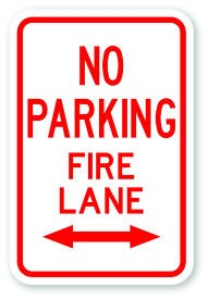 "18"" x 12"" No Parking Fire Lane with Double Arrow"