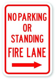 "18"" x 12"" No Parking Or Standing Fire Lane with Right Arrow"