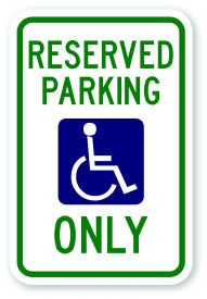 "18"" x 12"" Handicap Parking Only Sign"