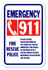 "18"" x 12""  Emergency 911 Fire Rescue Police"