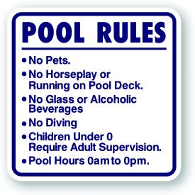 18 Quot X 18 Quot Pool Rules Sign Customized With Age And Time