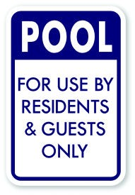 "18"" x 12"" Pool For Use By Residents and Guests Only Sign"