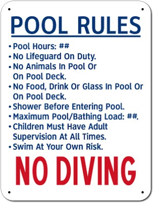 "18"" x 24"" POOL RULES Sign"