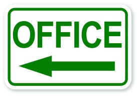 office sign with left pointing arrow